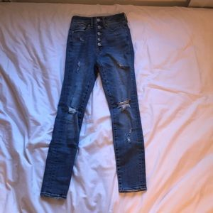 These are high waisted areopastale skinny jeans